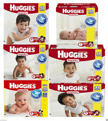 Huggies Snug - Dry Baby Diapers Size N 1 2 3 4 5 6 CHEAP NO TAX