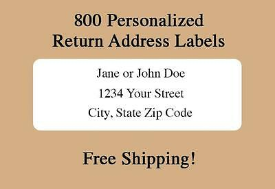 800 Personalized Printed Return Address Labels- 12 x 1 34 Inch-Free Shipping