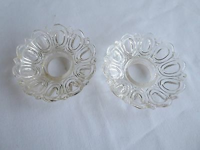 EAPG Early American Pattern Glass Bobeches Pair Clear Thumbprint w Scallops