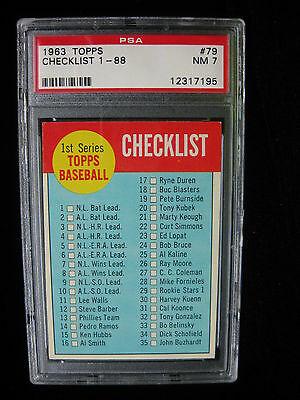 1963 TOPPS BASEBALL  79 CHECKLIST 1ST SERIES 1-88 PSA 7 NM