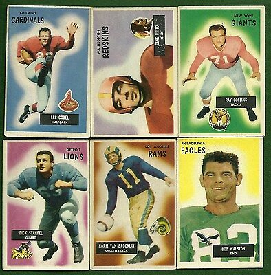 Six Card Lot 1955 Bowman Football w Norm Van Brocklin