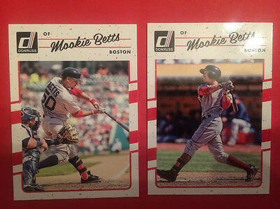 2017 Donruss 2 Card Lot of Mookie Betts   Variations - Common