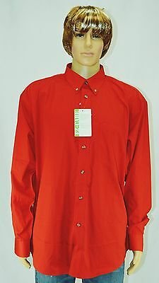 NWT LANDMARK Mens Red Long Sleeve Button Front Casual Cotton Blend Shirt Size XL