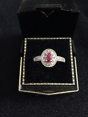10K White Gold Ring With Ruby And Diamonds