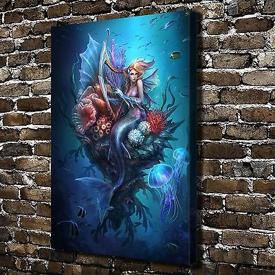 Oil Painting HD Print Wall Decor Art on Canvas Harp Mermaid 12x18inch Unframed