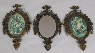 Vintage Set of 3 Small Metal Decorative Frames and Mirror Made in Italy