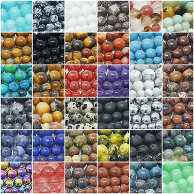 Natural Gemstone Beads Round 4mm 6mm 8mm 10mm 12mm 15-5 Strand
