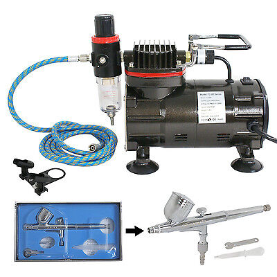 AIRBRUSH SET - AIR COMPRESSOR 0-3 Master DUAL ACTION KIT Paint Hobby Cake Tattoo