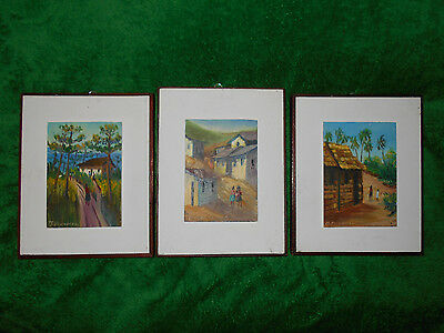 Oil Paintings on Wood  signed work  lot of 3