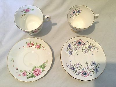 Avon Lot of 2 Tea Cup Saucer Pink Roses Blue Blossoms NIB Vintage NEW