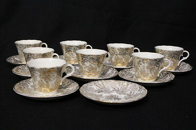 17pc Vintage Colclough GOLD FLOWERS Floral Chintz Footed Cup Saucer Set England