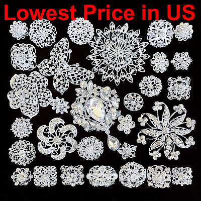 30 pcs Mixed Sliver Rhinestone Crystal Brooch Button Wedding Bouquet DIY Kit Lot