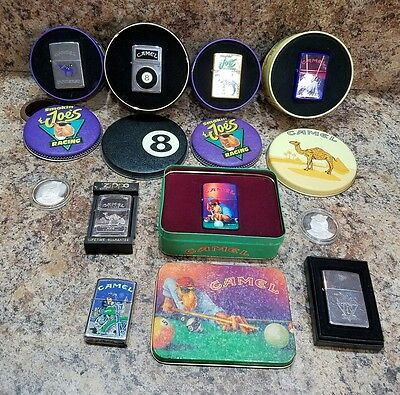VINTAGE LOT OF CAMEL LIGHTERS AND CASES with 2 Coins
