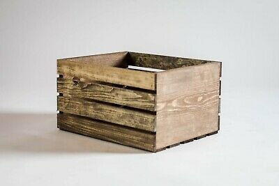 Medium Stained Rustic Wood Crates Boxes- New hand made