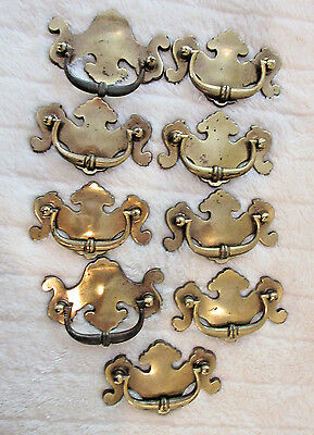 Lot of 9 Early American Antique Brass Drawer Pulls Large