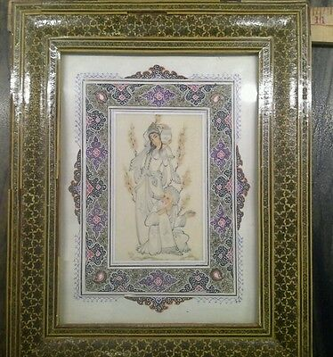 VINTAGE  PERSIAN PAINTING ON CAMEL BONE SIGNED Frame 10 X 12 INCHES