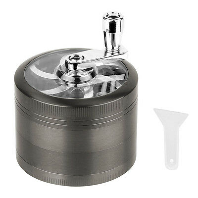 4 Piece Magnetic 2-5 Inch Grey Tobacco Herb Grinder Spice Zinc Alloy With Scoop