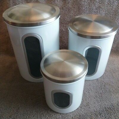 Set of 3 White Kitchen Storage Canisters View Window Stainless Steel Lids