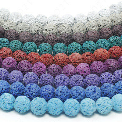 Dyed Lava Rock Beads Natural Round Loose 8mm 15-5 Strand