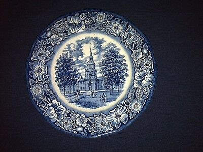 STAFFORDSHIRE LIBERTY BLUE DINNER PLATEINDEPENDENCE HALL