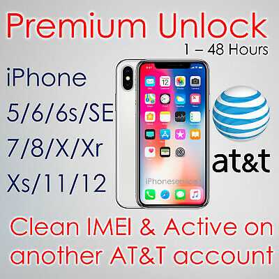 PREMIUM FACTORY UNLOCK SERVICE CODE FOR AT-T ATT iPhone 12 11 Xs Xr X 8 7 6s 6