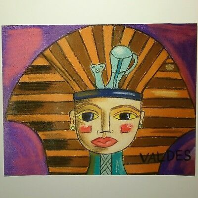 EGYPT FREEHAND VALDES painting signed repro- 11x14 Pop Art