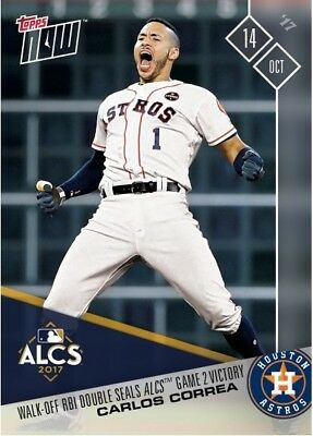 2017 Topps NOW MLB 760 Carlos Correa Walk-Off RBI Double Seals Game 2 Victory