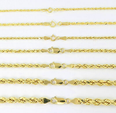 Real 14K Yellow Gold 1mm-5mm Rope Chain Link Necklace Bracelet Mens Women 7-32