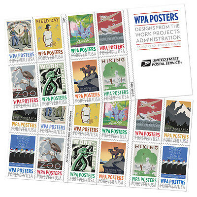 USPS New WPA Posters booklet of 20