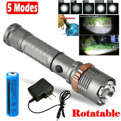 Tactical LED Flashlight 90000LM Rechargeable Hiking T6 Torch-18650 Batt-Charger