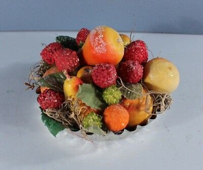 Folk Art Tarlette Tin Filled with Old Millinery Fruits