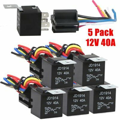 5pcs 3040 Amp 5-Pin SPDT 12V Automotive Relay w Wires - Harness Socket Set PEA