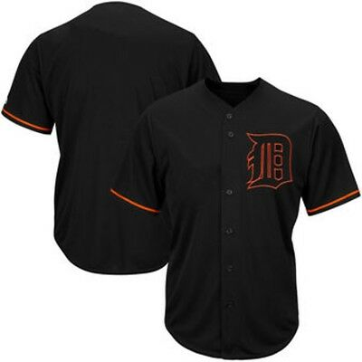Detroit Tigers MLB Mens Majestic Black Fashion Jersey Big - Tall Sizes