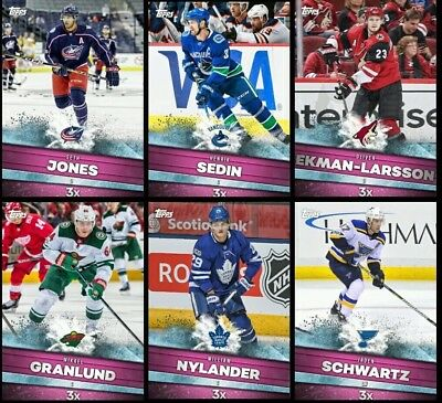 PINK BOOSTS SET OF 6 NYLANDERSEDINJONESGRANLUND- Topps NHL Skate Digital