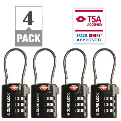 SureLock Cable TSA Accepted Luggage Lock 4 Pack Open Alert Indicator Alloy Body