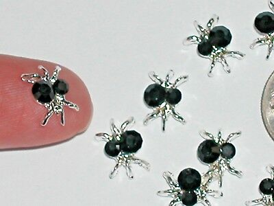 2Pc Miniature doll tiny Flatback Crystal Halloween Black insect bug Spiders NEW
