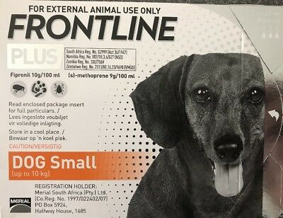 Frontline Plus 3 Months Supply For Small Dogs 0-22lbs 0-10kg By Merial  New