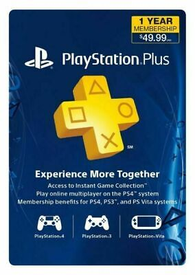Sony PlayStation Plus 1 Year Membership Subscription Card USACanada - Instant