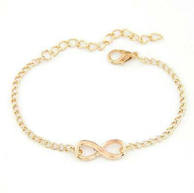 Infinity Love Charm Stainless Chain Womens Beauty Jewelry Silver GoId Bracelet