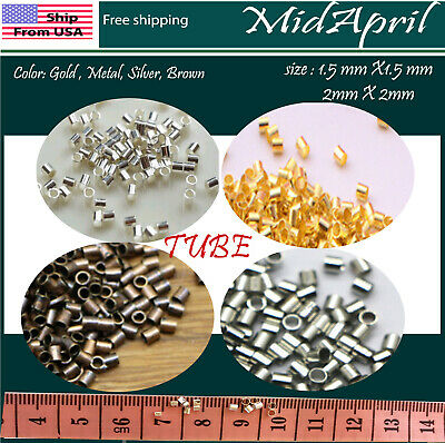 Crimp Beads TUBE SilverGoldBronzeMetal Plated DIY 1-5 2 mm US SELLER
