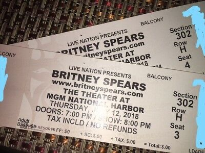Britney Spears concert tickets MGM July 12 Balcony Sec-302 Row H Seats 3-4