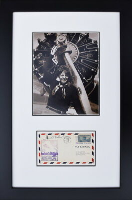 Amelia Earhart with Signed First Day of Issue Envelope - Framed Aviation Art