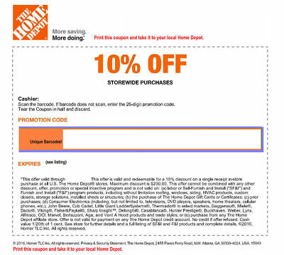 ONE 1x Home Depot 10 Off-coupon- max saving 200- In Store Only-