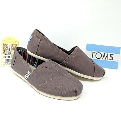 Toms Womens Shoes Flats Walking Casual Ash Brown Slip On Fabric Sz 6 NEW