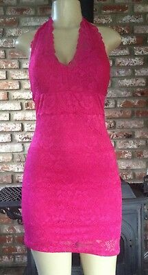 Wet Seal Hot Pink Lace Halter Dress Size S