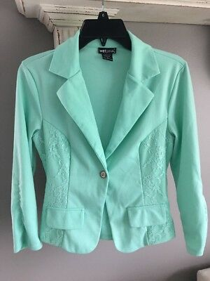 Womens Wet Seal Blazer Sz S Solid Mint Green 34 Sleeves Lace