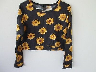 Womens WET SEAL Boho Chic Long Sleeve CROP TOP Black w Yellow SUNFLOWERS Large