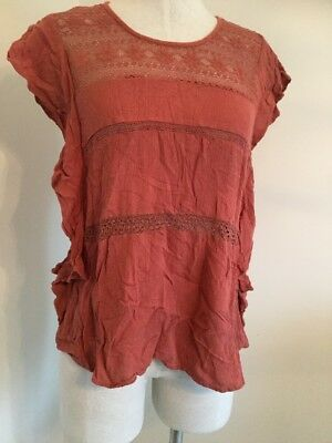 American Eagle Outfitters Women Blouse Top Terra-cotta Short Sleeve Sz M