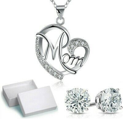 Mothers Day Pave Heart Necklace with Crystal Studs- Box in 18K White Gold ITALY