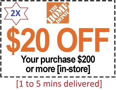 2x Two Home Depot Coupon 20 Off 200 IN-STORE-Fast Delivered- Back Guarantee